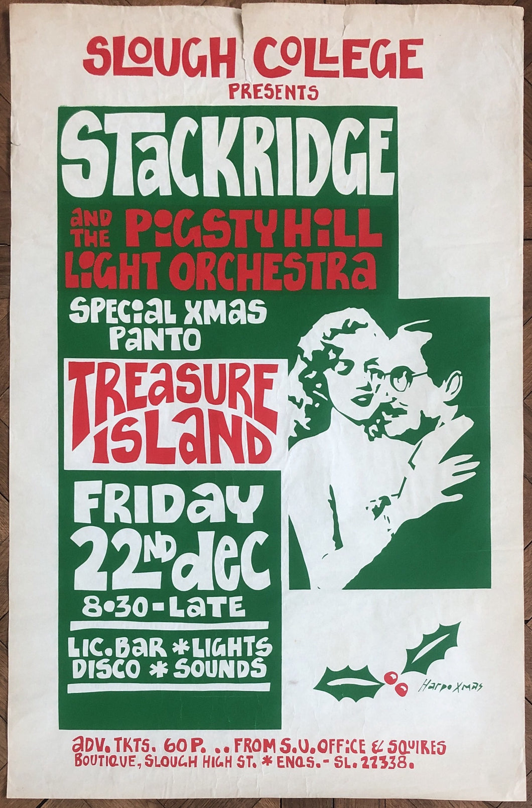 Stackridge Original Concert Tour Gig Poster Slough College 22nd Dec 1972