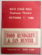 Load image into Gallery viewer, Ian Hunter Todd Rundgren Original Unused Concert Backstage Pass Ticket Orpheum Theatre Boston