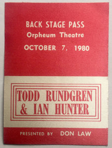 Ian Hunter Todd Rundgren Original Unused Concert Backstage Pass Ticket Orpheum Theatre Boston
