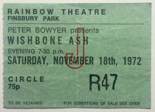 Wishbone Ash Original Used Concert Ticket Rainbow Theatre, London 18th Nov 1972