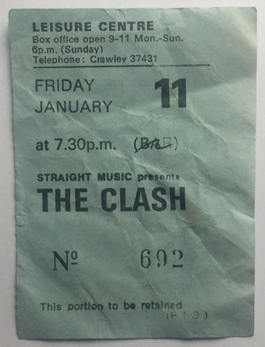 Clash Original Used Concert Ticket Leisure Centre Crawley 11th Jan 1980