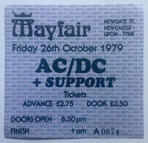 AC/DC Original Used Concert Ticket Mayfair Newcastle 26th Oct 1979
