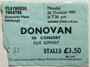 Donovan Original Used Concert Ticket Playhouse Theatre Edinburgh 26th Oct 1981