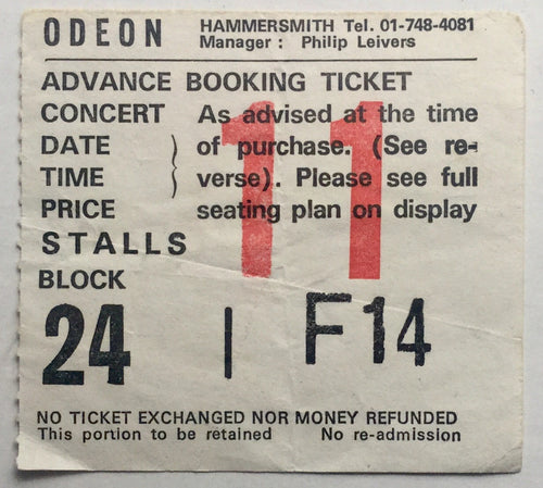 Camel Original Used Concert Ticket Hammersmith Odeon London 4th Jun 1982
