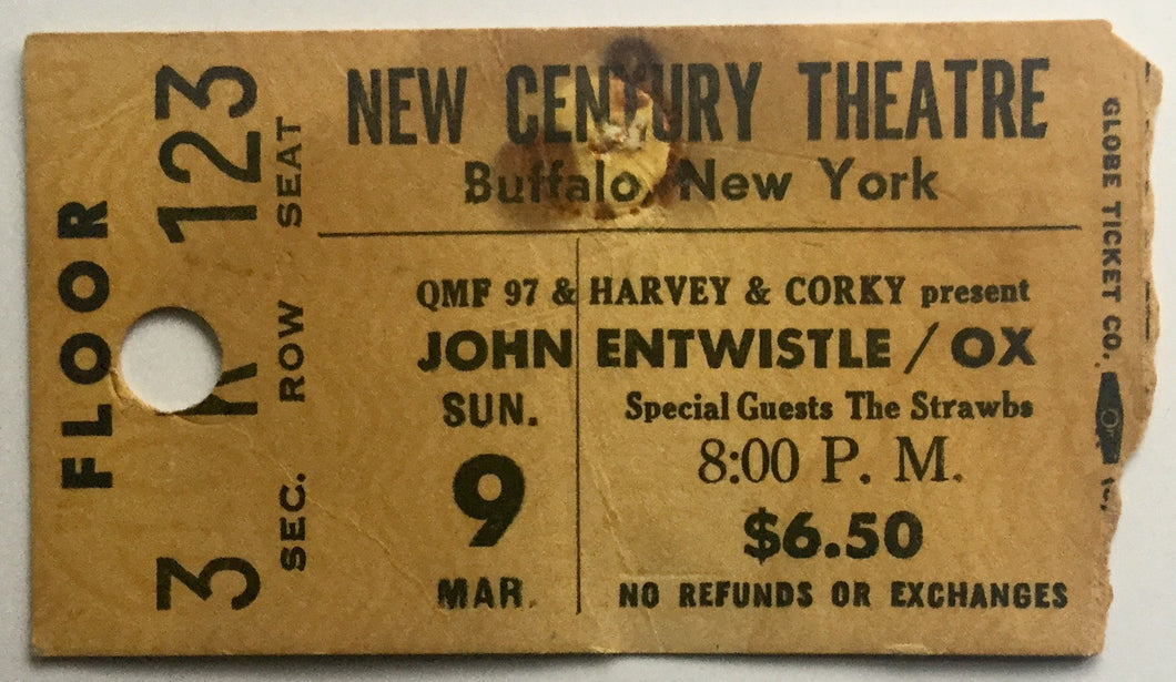 Who Ox John Entwistle Original Used Concert Ticket New Century Theatre New York 9th Mar 1975