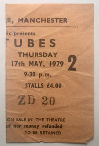 Tubes Original Used Concert Ticket Apollo Theatre Manchester 17th May 1979