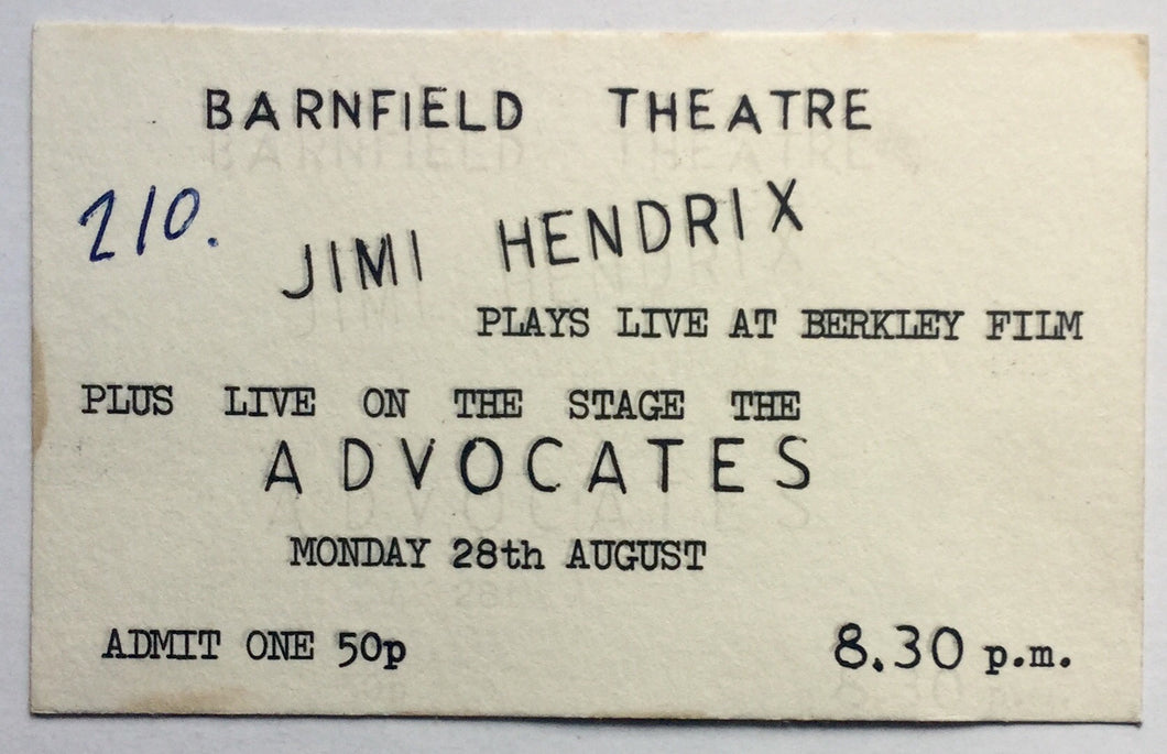 Jimi Hendrix Advocates Original Concert Ticket Barnfield Theatre Exeter 28th Aug 1972