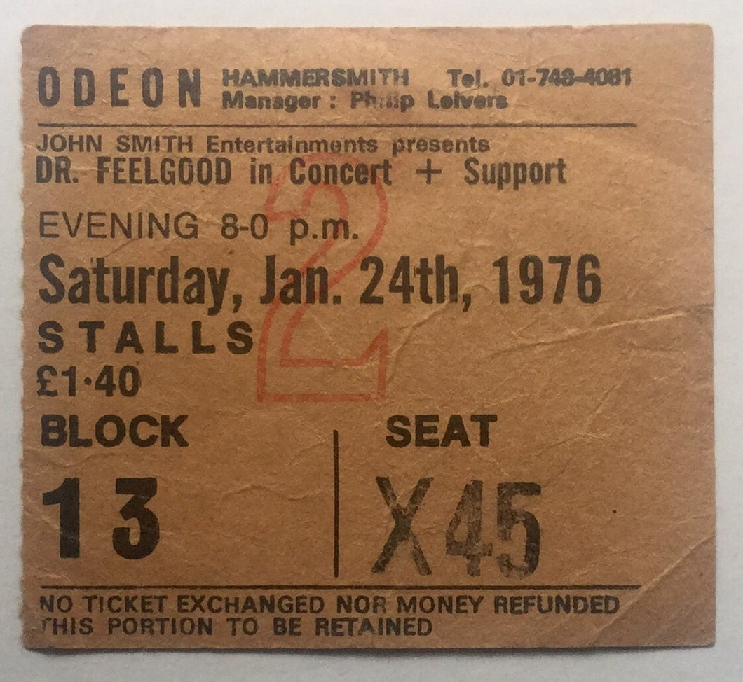 Dr Feelgood Original Used Concert Ticket Hammersmith Odeon London 24th Jan 1976