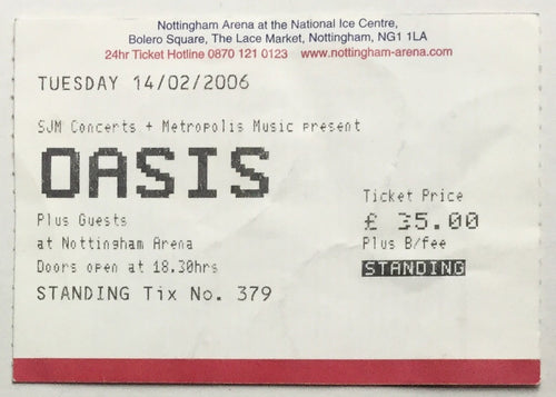 Oasis Original Used Concert Ticket Nottingham Arena 14 February 2006