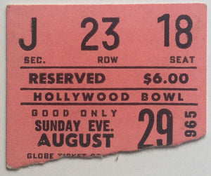 Beatles Original Used Concert Ticket Hollywood Bowl Los Angeles 29th Aug 1965