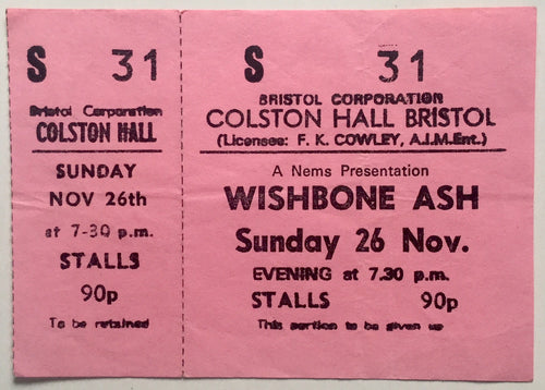Wishbone Ash Original Unused Concert Ticket Colston Hall Bristol 26th Nov 1972