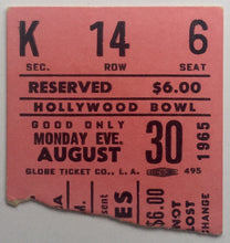 Load image into Gallery viewer, Beatles Original Used Concert Ticket Hollywood Bowl Los Angeles 30th Aug 1965