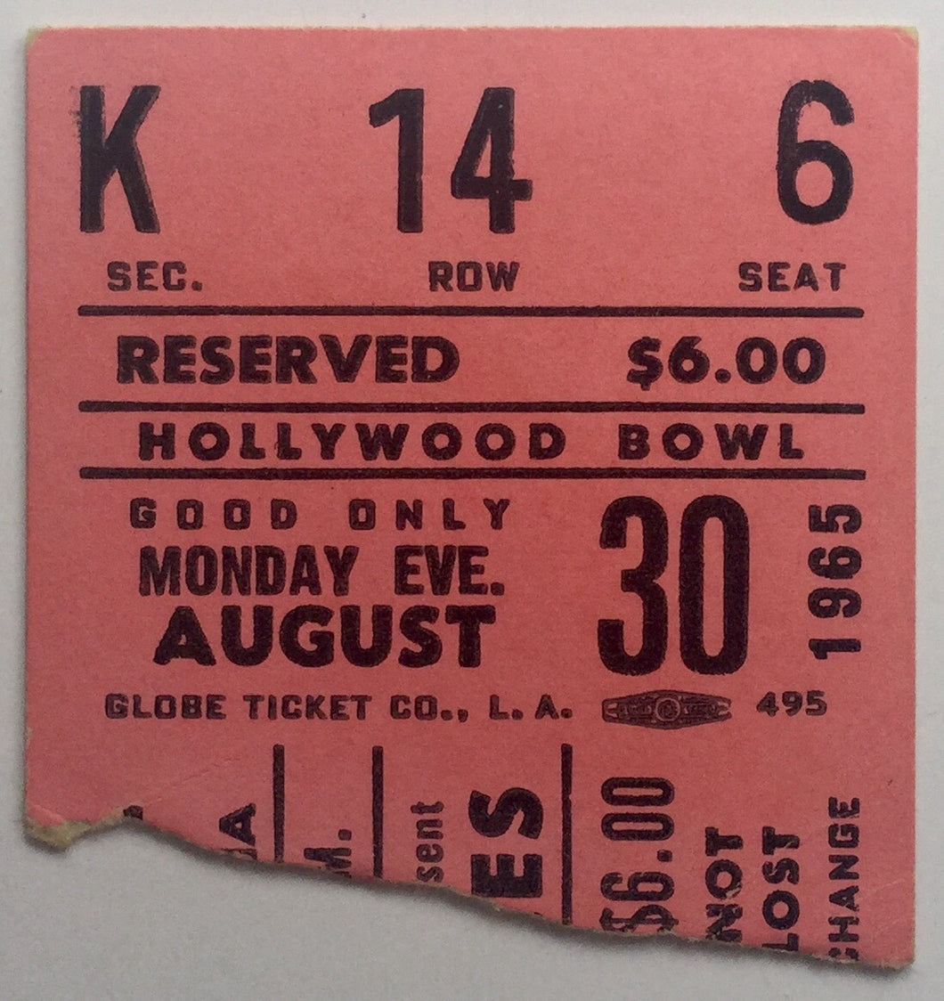 Beatles Original Used Concert Ticket Hollywood Bowl Los Angeles 30th Aug 1965