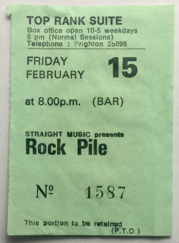 Rockpile Original Used Concert Ticket Top Rank Suite Brighton 15th Feb 1980