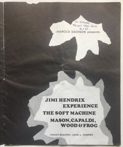 Jimi Hendrix Experience Concert Programme Royal Albert Hall London Feb 1969