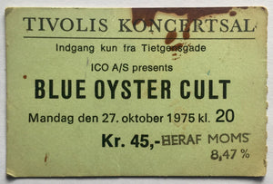 Blue Oyster Cult Original Used Concert Ticket Tivolis Koncertsal Copenhagen 27th Oct 1975
