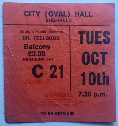 Dr Feelgood Original Used Concert Ticket City Hall Sheffield 10th Oct 1978