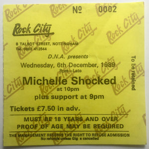 Michelle Shocked Original Used Concert Ticket Rock City Nottingham 6th Dec 1989