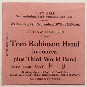 Tom Robinson Band Original Used Concert Ticket City Hall Newcastle 27th Sept 1978