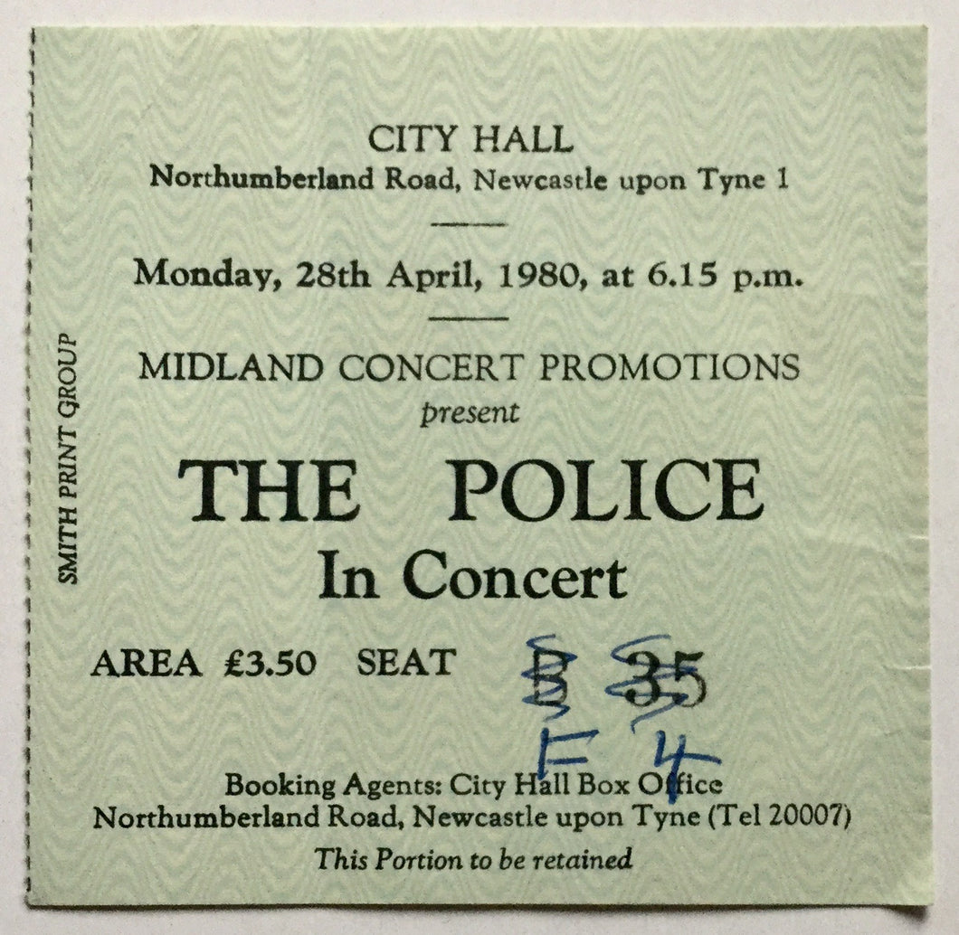 Police Original Used Concert Ticket City Hall Newcastle 28th April 1980