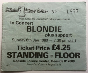 Blondie Debbie Harry Original Used Concert Ticket Deeside Leisure Centre 6th Jan 1980