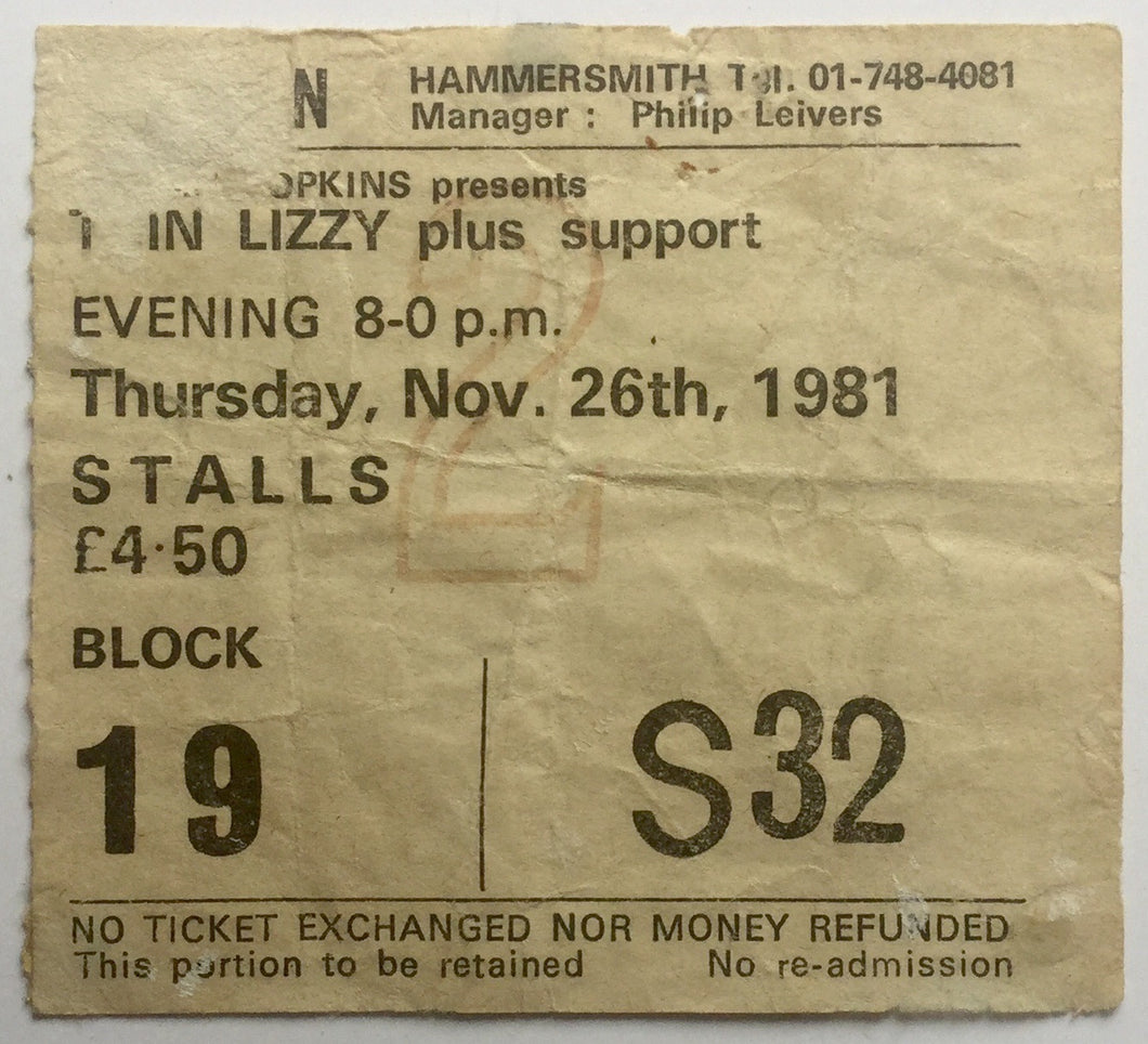 Thin Lizzy Original Used Concert Ticket Hammersmith Odeon London 26th Nov 1981