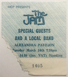 Jam Original Used Concert Ticket Alexandra Pavilion London 16th Mar 1982