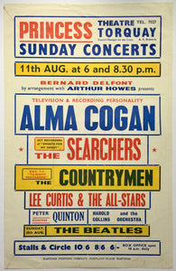 Beatles Original Concert Handbill Flyer Princess Theatre Torquay 18th Aug 1963