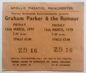 Graham Parker & The Rumour Original Unused Concert Ticket Apollo Theatre Manchester 16th Mar 1979