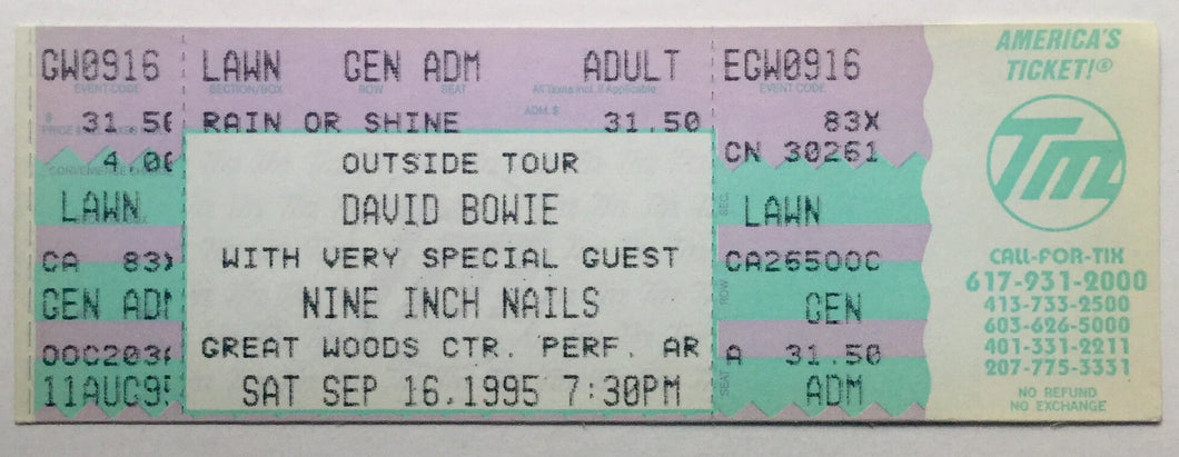 David Bowie Original Unused Concert Ticket Great Woods Center Mansfield 16th Sept 1995