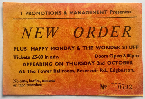 New Order Original Used Concert Ticket Tower Ballroom Edgbaston 2nd Oct 1986