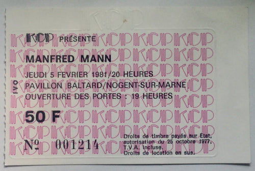 Manfred Mann Original Used Concert Ticket Pavilion Baltard Paris 5th Feb 1981