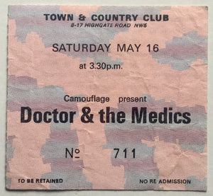 Dr & the Medics Original Used Concert Ticket Town & Country Club London 16th May 1987