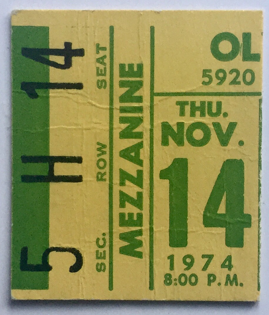 Elton John Original Used Concert Ticket Olympia Stadium Detroit 14th Nov 1974