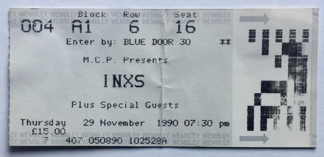 INXS Original Used Concert Ticket Wembley Arena London 29th Nov 1990