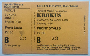 Krokus Original Unused Concert Ticket Apollo Theatre Manchester 1st June 1980