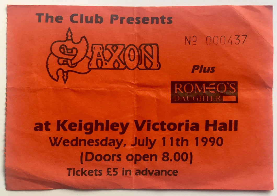 Saxon Original Used Concert Ticket Keighley Victoria Hall 11th July 1990