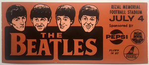 Beatles Original Brown Unused Concert Promo Advertising Sticker Rizal Memorial Football Stadium Manila 4th July 1966