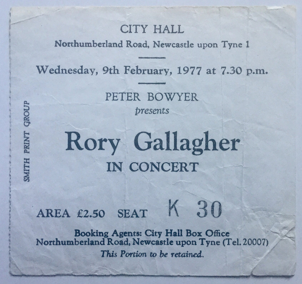Rory Gallagher Original Concert Ticket City Hall Newcastle 9th Feb 1977