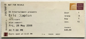 Eric Clapton Original Used Concert Ticket Royal Albert Hall London 26th May 2006