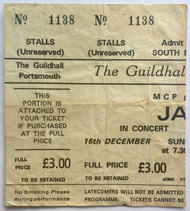 Jam Original Used Concert Ticket Guildhall Portsmouth 16th Dec 1979