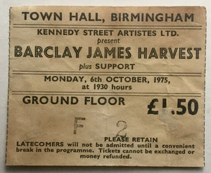 Barclay James Harvest Original Used Concert Ticket Town Hall Birmingham 6th Oct 1975