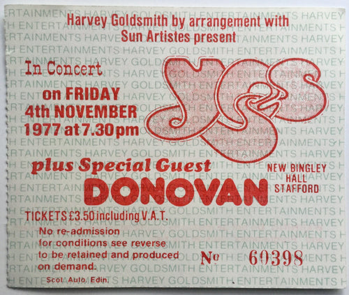 Yes Donovan Original Used Concert Ticket New Bingley Hall Staffordshire 4th Nov 1977