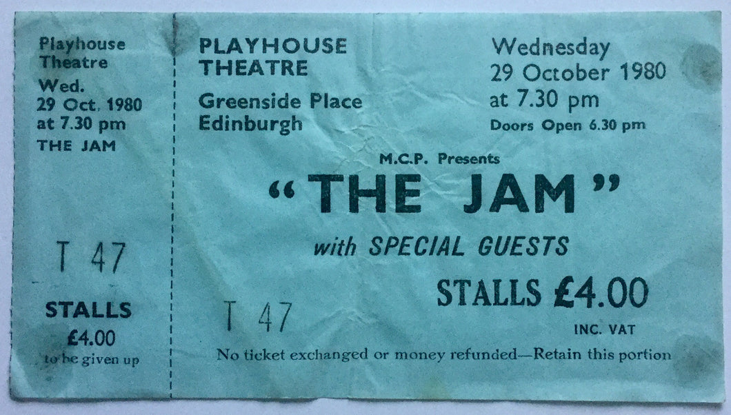 Jam Original Unused Concert Ticket Playhouse Theatre Edinburgh 29th Oct 1980