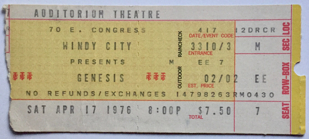 Genesis Original Used Concert Ticket Auditorium Theatre Chicago 17th April 1976