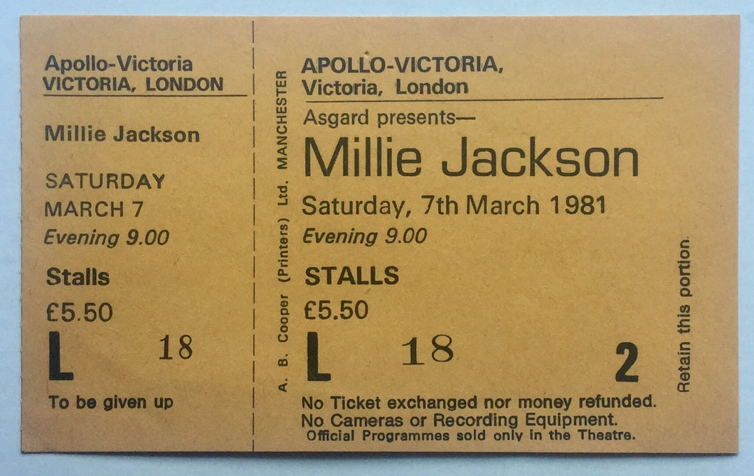 Millie Jackson Original Unused Concert Ticket Apollo Victoria London 7th Mar 1981