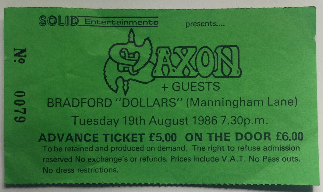 Saxon Original Used Concert Ticket Dollars and Dimes Bradford 19th Aug 1986