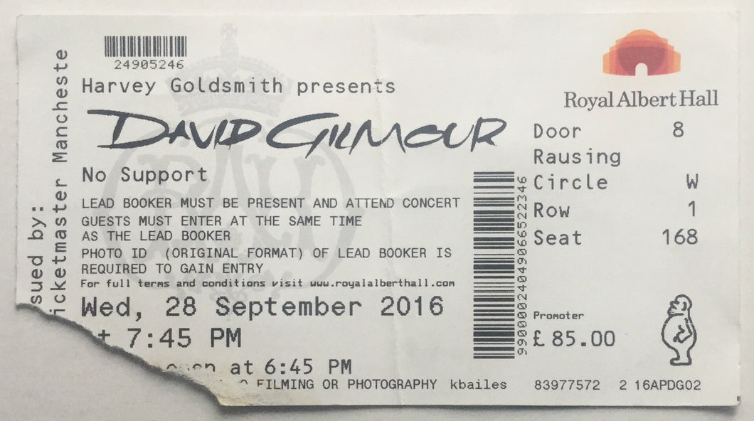 Pink Floyd David Gilmour Original Used Concert Ticket Royal Albert Hall London 28th Sept 2016