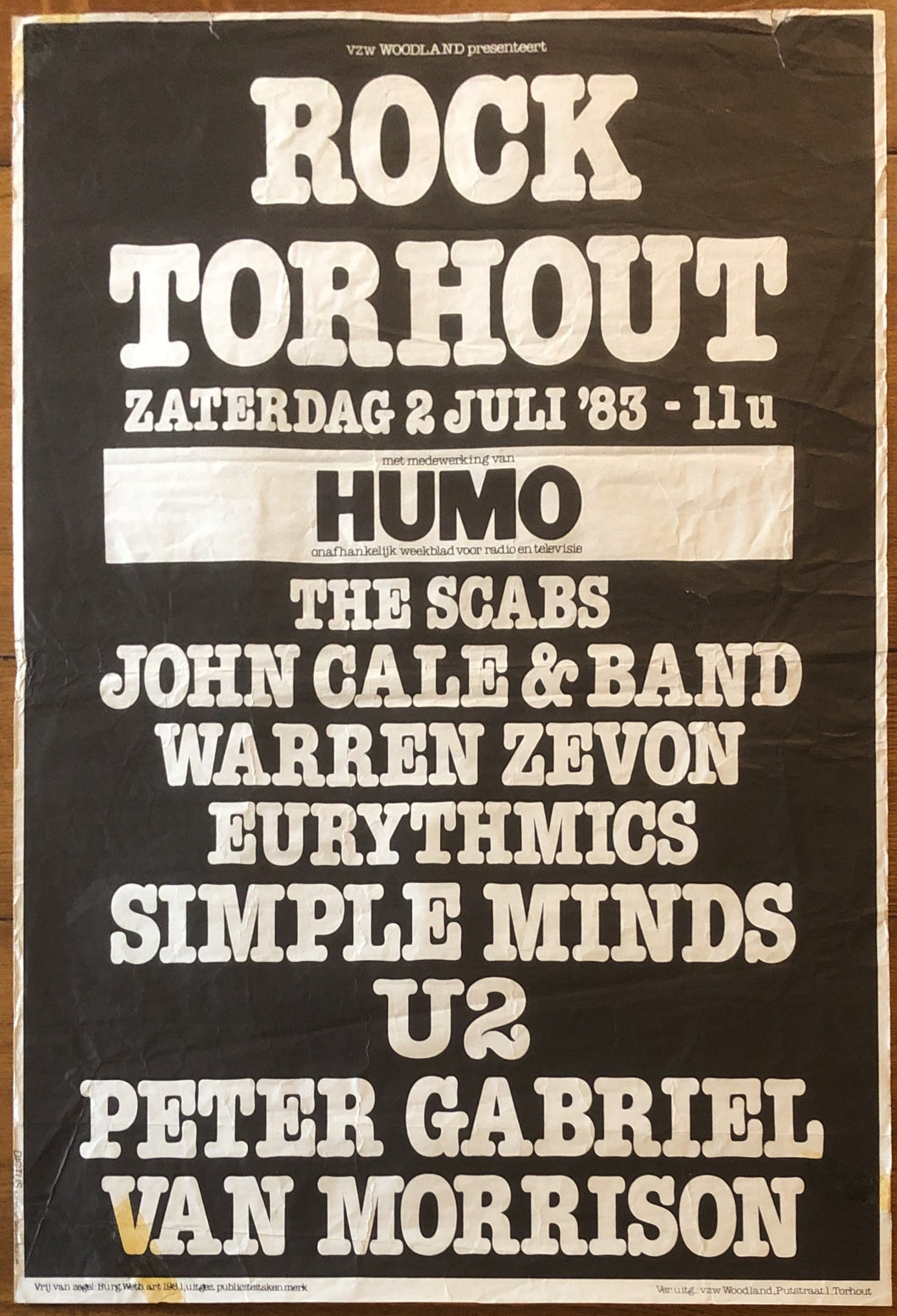 U2 Peter Gabriel Simple Minds Original Concert Gig Poster Rock Torhout 2nd July 1983