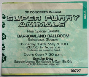 Super Furry Animals Original Used Concert Ticket  Barrowland Ballroom Glasgow 14th May 1998